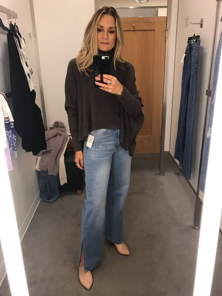 Nordstrom fall try on! Long wide leg jeans, free people top  High waisted jeans, denim trend, casual outfit, blogger favorite, distressed wide leg jeans, straight leg jeans, split leg jeans, under $40  #LTKstyletip #LTKsalealert #LTKunder50