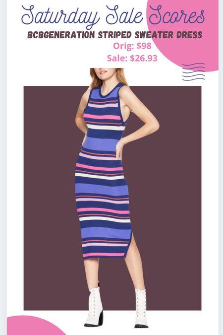 Bcbgeneration striped midi sweater dress #amazonfashion  #amazonfinds #ltkunder30 #mididress  #LTKsalealert #LTKcurves #LTKbump