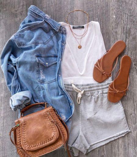 😍😍    Jean shacket, gray lounge shorts, brown crossbody, tan sandals, white crop top, ribbed top, Jean jacket, brown handbag, lounge shorts   #LTKunder50 #LTKstyletip #LTKsalealert