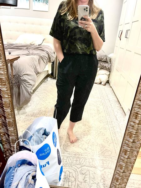 Cropped tops work well with joggers - and these are under ten bucks at Old Navy. Bought every color! Works with jeans as well. Great casual style.   #LTKsalealert #LTKunder50 #LTKunder100