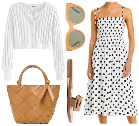 Neutral favorites for fall transition  . . . Fall outfit, fall transition, polka dot dress, midi dress, cropped cardigan, cable cardigan, white cardigan, black and white, slide sandals, leather sandals, tote bag, crossbody bag, brown purse, brown handbag, camel handbag, camel purse   #LTKstyletip #LTKitbag #LTKSeasonal