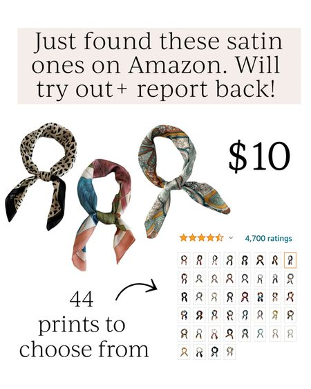 Amazon satin hair scarfs // 44 prints and only $10 // hair accessories // Amazon finds #LTKbeauty #LTKstyletip #LTKunder50 #liketkit @liketoknow.it http://liketk.it/3hOOh