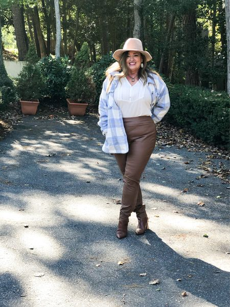 I love the pairing of light blue and Carmel… this shacket is over sized and fleece lined!  I live faux leather leggings in unexpected colors for Fall..  It is from Sams Club for $15.99 your welcome! I linked some Similar finds also.   It is #FashionFriday with my fashionable friends  @jaxvegancouple @lynnettiu @seechele_styles @mymidlifestylist @joyousstyling @melaniespickett @robinlamonte @classicstylebylisa_ @foragoodlifeafter50 @patrishpages  #LTKGiftGuide #LTKcurves #LTKstyletip