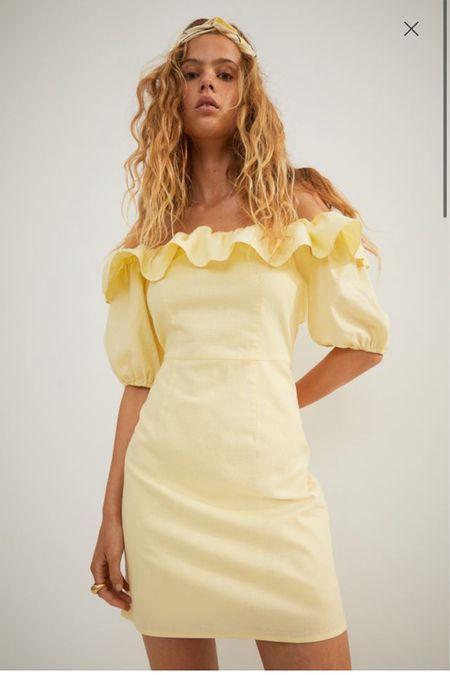 @liketoknow.it #liketkit http://liketk.it/3hh9V H&M linen ruffle off shoulder mini dress