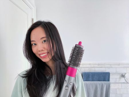 Dyson airwrap styler review on youtube. How to use the dyson round brush, dyson tutorial for long fine hair. Dyson, dyson review, hair, haircare, hair tools, curling iron  #LTKsalealert #LTKstyletip #LTKbeauty