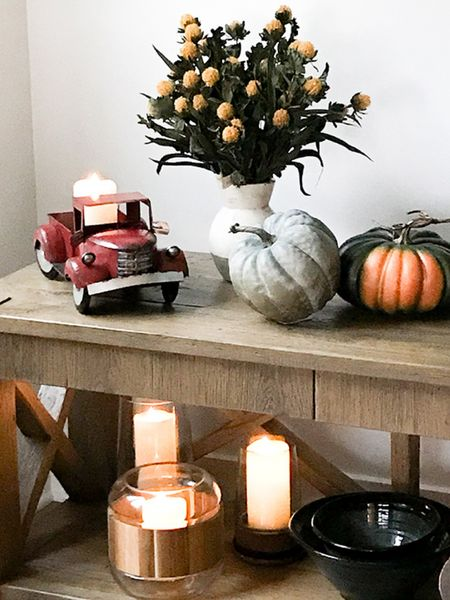 Fall is coming! So we aren't too sad, let's make our home decorating festive! I have found amazing pieces in my latest haul. Definitely check out the pumpkins, weathered case, and my fav red truck. ♥️  #StayHomeWithLTK #LTKhome #LTKsalealert