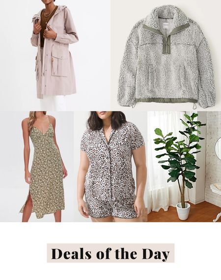 Deals of the day, daily deals, today's deals, sherpa pullover, raincoat, anorak, midi dress, forever 21, pjs, pajamas, soma cool nights, faux fiddle leaf tree, faux tree   #LTKunder100 #LTKunder50 #LTKsalealert