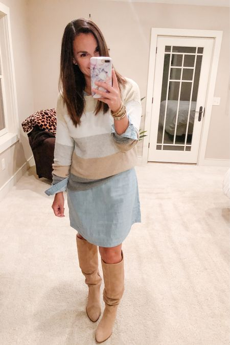 Layer a sweater over a chambray dress or any dress for that matter and it gives you a whole new look! This color block sweater is from last year but I've linked a few super cute ones that will give you the same, if not an even cuter look. I got these tan knee highs in the Nordstrom sale but I did find a few alternatives that would work for the look.   http://liketk.it/2XEjm #liketkit @liketoknow.it
