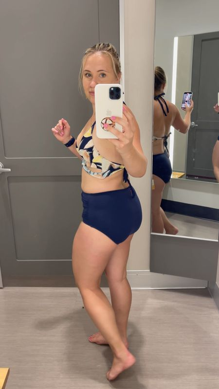Target swim for the win for moms that want to cover a little more but super cute! Fits true to size. I'm in a medium bottom here.   #LTKfamily #LTKunder50 #LTKswim