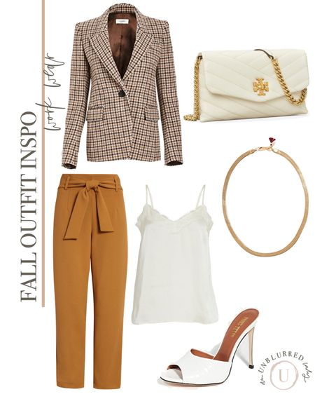 Fall outfit inspo featuring a plaid blazer and mustard yellow paper bag pants and white accessories! This Tory Burch Kira handbag is also on sale right now!   #LTKunder100 #LTKsalealert #LTKFall