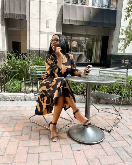 """Pull up on 'em this week in the perfect midi by @whowhatwearxtarget. This dress gives what it's suppose to give and size inclusive. Related products, allow for additional styling options!  ____  Outfit Details (per IG reel) Print Midi Dress: @whowhatwearxtarget Necklace: @juliavaughn  Sunglasses: @vehlaeyewear Shoes: @bcbgmaxazria  Bag: @chanelofficial   Lip: @maccosmetics """"Fashion Legacy""""    #LTKunder100 #LTKworkwear #LTKstyletip"""