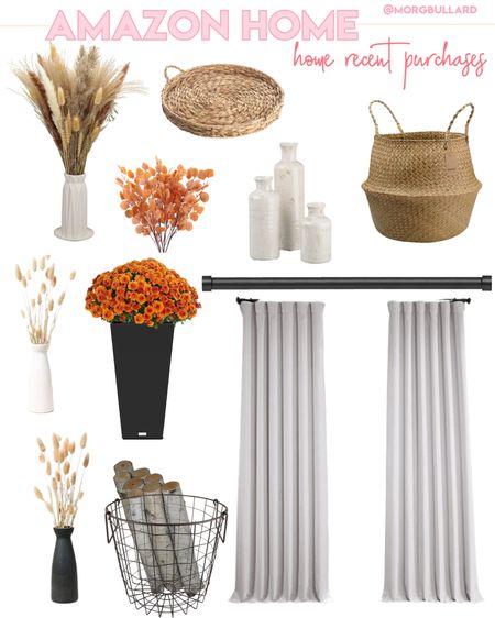 Amazon home decor, Amazon curtains, Amazon fall decor, fall flower , vases, bookshelf decor   #LTKunder100 #LTKunder50 #LTKhome