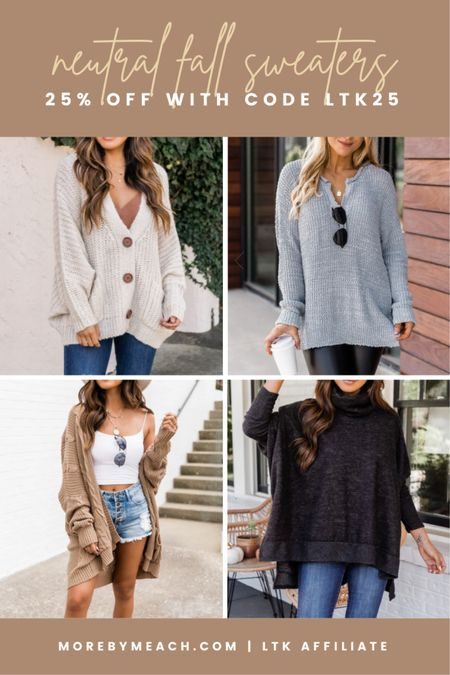 The cutest knits. 🤍 These neutral fall sweaters make for cute fall outfits, and they're all 25% off today at Pink Lily! Use code LTK25 at checkout. || earth tones, grandpa cardigan, tunic sweater, oversized cardigan, turtleneck poncho sweater, tan sweater, oatmeal sweater, gray sweater, charcoal sweater   #LTKunder50 #LTKSale #LTKSeasonal