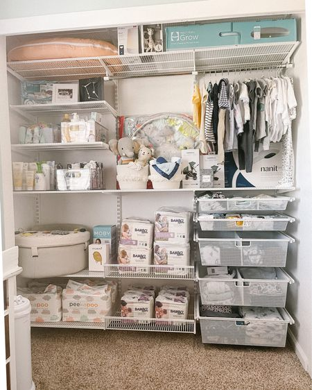 Another project checked off the to-do list before Baby comes: remodeling the nursery closet. Here's a look at the new closet fully stocked and ready to go for our baby boy! Shop the post on @liketoknow.it http://liketk.it/3gAAU #liketkit #LTKbaby #LTKhome #LTKfamily