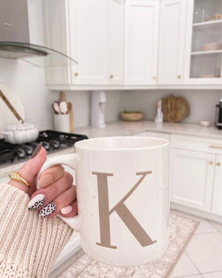 Neutral initial coffee mug from target 🤍  kitchen decor, fall decor, runner rug  #LTKhome #LTKunder100 #LTKunder50