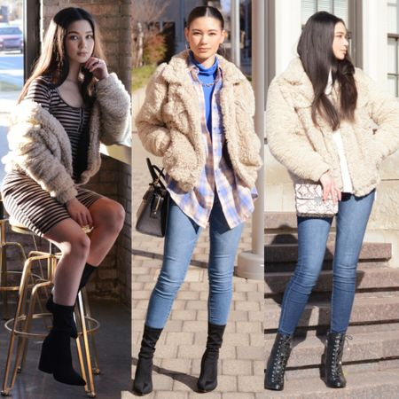 Who doesn't love a cozy teddy jacket? 🐻✨ What's your favorite? 1,2, or 3? (Left to right). Comment below ❤️  Follow me on the @liketoknow.it  shopping app to get the product details for these looks and others http://liketk.it/2LNOX #liketkit #LTKstyletip #LTKspring #LTKunder50  . . . 📸: onyins