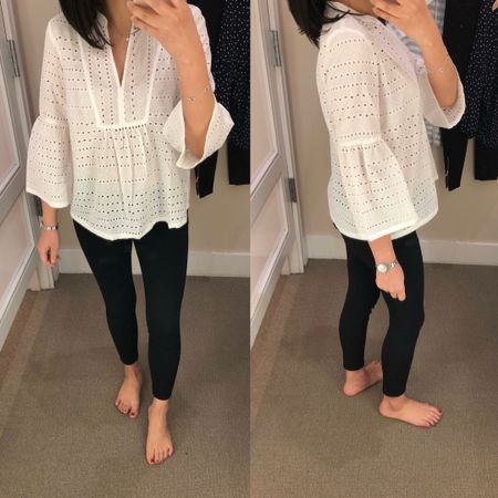 Trying on size XXSP which fits like size XSP. This top has a wide and boxy fit. Unlined. The shirt has a good structure to it. I took the ponte pants in size 2P since size 0P was very snug. @liketoknow.it http://liketk.it/2v6Id #liketkit #LTKsalealert #LTKunder50 #LTKunder100