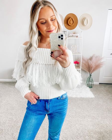 Code ✨BLONDEBELLE✨ to save  . . . Pink Lily boutique, fringe sweater, cream sweater, fall, fall sweater  #LTKunder50 #LTKstyletip #LTKSeasonal
