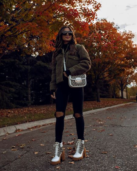 Cozy fall outfit ideas  Gucci combat boots  Gucci Horsebit 1955 mini bag  Rails olive green shearling jacket   #LTKshoecrush #LTKstyletip #LTKitbag