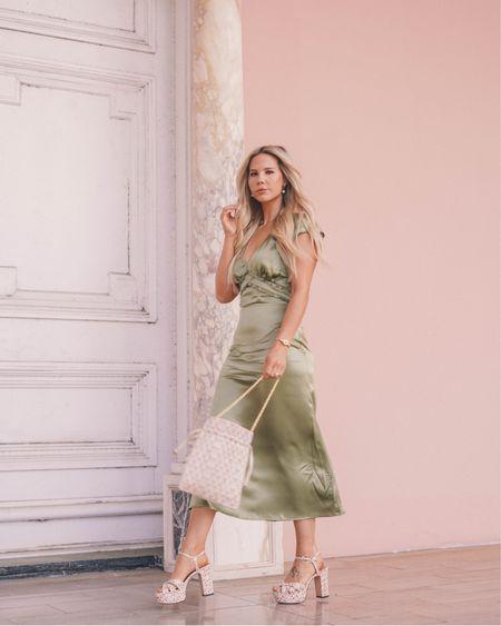 Green satin dress with floral platform heels http://liketk.it/3cXEt #liketkit @liketoknow.it #LTKwedding #LTKshoecrush #LTKsalealert