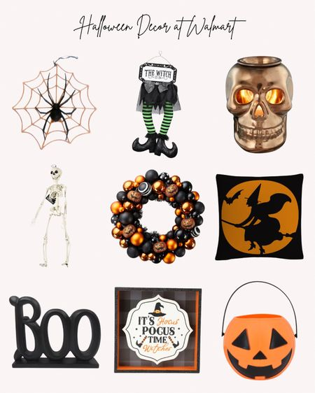 Halloween home decor, decorations, Walmart, spider, skull, wreath, witches, pumpkin, signs, candy buckets  Follow me for more ideas and sales.   Double tap this post to save it for later.   #LTKunder50 #LTKSeasonal #LTKHoliday