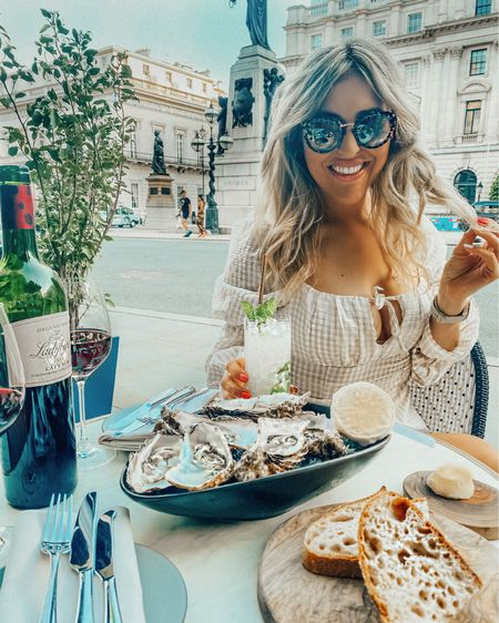 Puff sleeve dress - H&M - H&M dress - designer sunglasses - tortoise shell sunglasses - luxury sunglasses - designer sunglasses - st tropez tan - fake tan - self tan - summer dress - check dress - gingham dress - long sleeve dress - chiffon dress   #LTKunder50 #LTKsalealert #LTKeurope