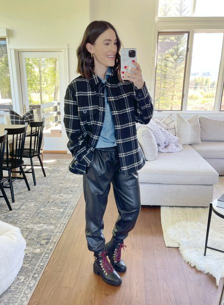 F A S H I O N \ Everything under $50 thanks to @walmart 👏🏻 Shop this #fall look here! Wearing a M in top, shacket and pants!  #walmart #walmartfashion #shacket #booties #fallfashion  #LTKunder50 #LTKSeasonal