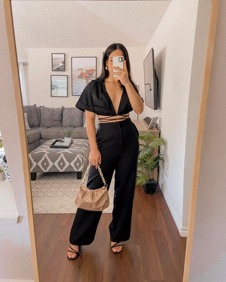 Get 15% off SHEIN with my discount code: Q3YGJESS  trouser pants, tie up top, ruched texture chain bag, strap sandal mules, gold jewelry, fall outfits, fall style, fall outfit inspo, fall outfit ideas, transitional style   #LTKsalealert #LTKitbag #LTKshoecrush
