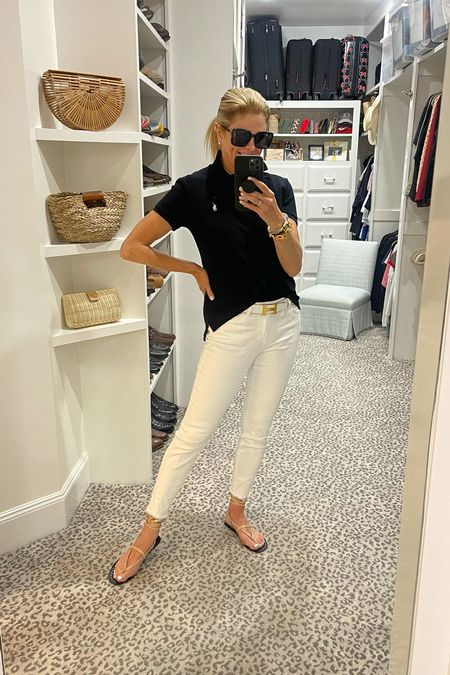 Today's look with mid-rise white jeans.  Simple and classic   #LTKstyletip #LTKshoecrush #LTKunder100