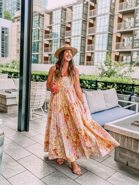 """Summer outfit, summer maxi dress, floral dress - runs REALLY big. Size down two sizes. I'm 5'11"""", tts L and wearing a small. One of these options is on sale! Braided sandals - tts. Panama hat lack of color.   #LTKunder100 #LTKstyletip #LTKsalealert"""