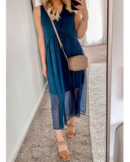Blue dress, layered dress, wedding guest dress #LTKshoecrush #LTKunder100   http://liketk.it/3oeOB @liketoknow.it #liketkit