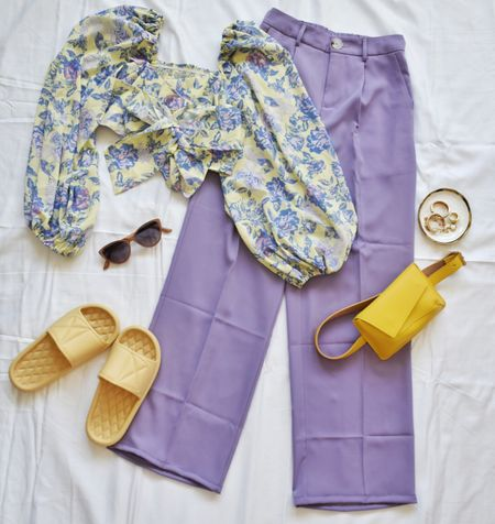 I got your perfect spring outfit. I have been obsessed with Lilac lately and this top gives me tropical vibes. everything is under $50. I got the perfect sunglasses from target. #ltkseasonal #ltkunder50 #LTKsalealert