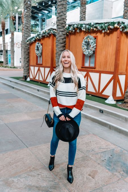 Striped sweaters are so fun! Size up in this one for an oversized fit/ off should fit💕 I'm wearing a Small. Hat is also found on Amazon for only $16✨ http://liketk.it/32QXV #liketkit @liketoknow.it #LTKgiftspo #LTKstyletip #LTKunder50