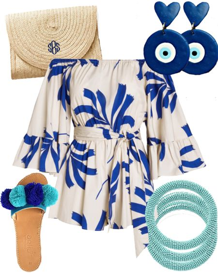 Would Rather Be Wearing: blue and white romper, blue evil eye statement earrings, monogrammed straw clutch, blue pom pok sandals and turquoise beaded bangles 🧿🤍☀️ TO SHOP, use this link in your browser: http://liketk.it/2UBoI #liketkit @liketoknow.it
