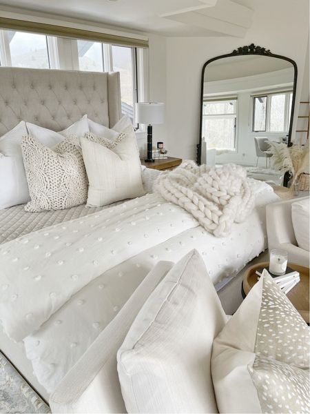 """H O M E \ Cozy bedding layers!! Linking everything I used here including y'all's favorite budget-friendly duvet! I have the color """"ivory"""" in a king size🤍  #bedroom # bedroomdecor #bedding #mirror #walmart #walmarthome   #LTKhome #LTKunder100"""