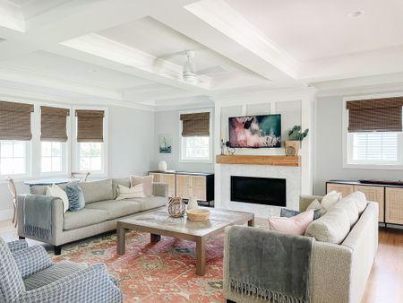 living room storage, living room decor, Roman shades, couch, sofa, coffee table, living room inspo  #LTKSeasonal #LTKfamily #LTKhome