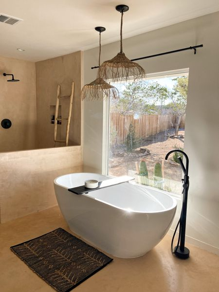 free standing bathtub, bathroom remodel, pendant lighting   #LTKhome #LTKsalealert #LTKfamily
