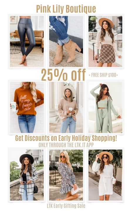 Get discounts on early holiday shopping with the LTK Early Gifting Sale! Get 25% off sitewide at Pink Lily Boutique + free shipping on order $100+.  #LTKDay #LTKSale #LTKunder50