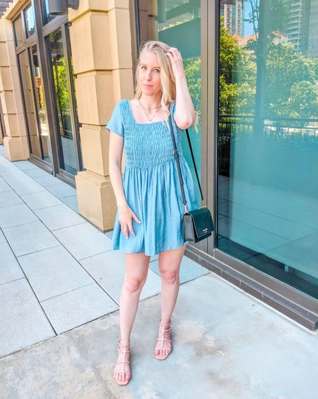 Blue smocked dress from Pink Lily Boutique. The perfect summer dress, beach dress or for 4th of July. Paired with beige pink square toe stud sandals and layered gold paperclip chain necklaces. Sold out in small, other sizes available. http://liketk.it/3hPqe @liketoknow.it #liketkit #LTKstyletip #LTKunder50 #LTKunder100 #LTKshoecrush
