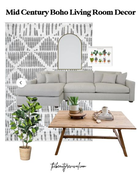 Mid century boho living room decor. White sectional, neutral geometric rug, rubber tree, rustic farmhouse coffee table, beauty revival coffee table, arched mirror, art print    http://liketk.it/3jffU #liketkit @liketoknow.it #LTKhome @liketoknow.it.home