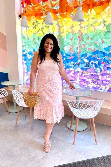 Eyelet pink dress from Pink Lily (L) and straw sandals run TTS #liketkit http://liketk.it/3hhNq   @liketoknow.it #LTKunder50 #LTKitbag #LTKcurves