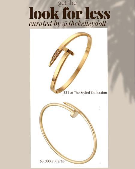Get the look for less:  Cartier Juste Un Clou $3000 vs The Styled Collection Brixton Bracelet   http://liketk.it/2SPzS @liketoknow.it #liketkit #LTKDay #LTKsalealert #LTKstyletip   Luxury jewelry  Gold jewelry  Minimal jewelry  Nail bracelet  Designer jewelry