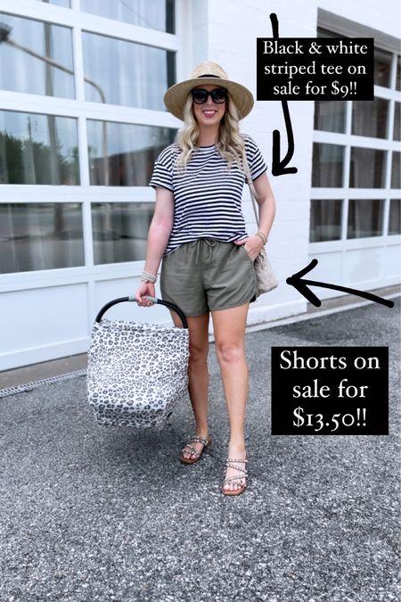 Black and white striped tee and olive green shorts on super sale for Walmart deal days! #liketkit @liketoknow.it http://liketk.it/3iaVd #LTKsalealert #LTKunder50 #LTKstyletip