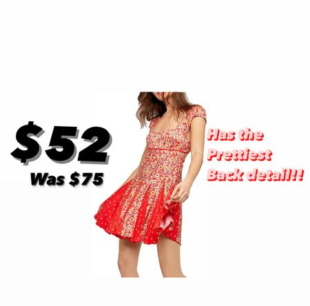 Free People open back mini dress is on sale for $52 regularly $75. Love the splash of color on the skirt of this dress. So pretty!!! Free People runs big. So size down since this is suppose to fit snug    #LTKunder100 #LTKsalealert #LTKunder50