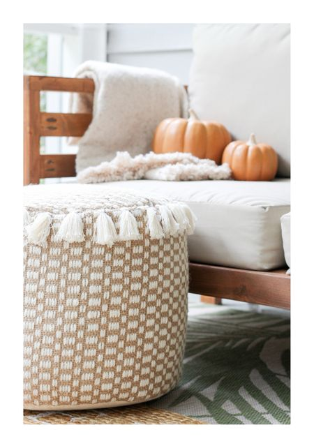 Outdoor space with a touch of Fall! I found this ottoman marked way down in store! #pumpkins #blankets #throw #porch #falldecor #ottoman #target #mytargetstyle #targetfinds  #LTKhome #LTKSeasonal #LTKsalealert