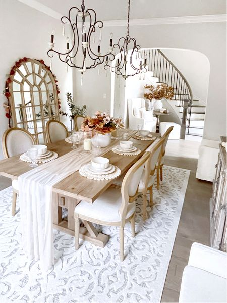 Fall dining room decor, arched leaning mirror, Walmart finds, my Texas house   #LTKSeasonal #LTKhome #LTKunder50