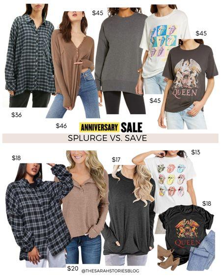 Nordstrom Sale alternatives, #nsale dupes, Look for less // Save vs Splurge // boyfriend plaid shirt, Free People thermal, pocket sweatshirt, Rolling Stone Queen graphic tee http://liketk.it/3jYVH #liketkit @liketoknow.it #LTKsalealert #LTKunder100 #LTKstyletip