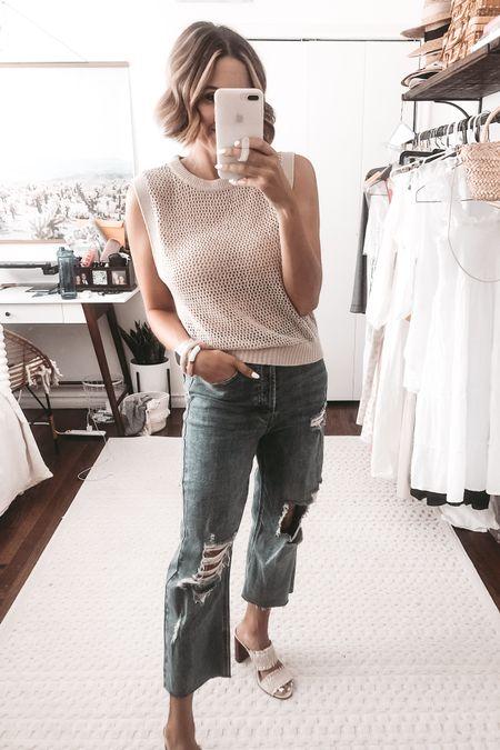 Open stitch summer sweater and ripped jeans. @liketoknow.it http://liketk.it/3jaHI #liketkit #LTKunder50 #LTKsalealert #LTKstyletip