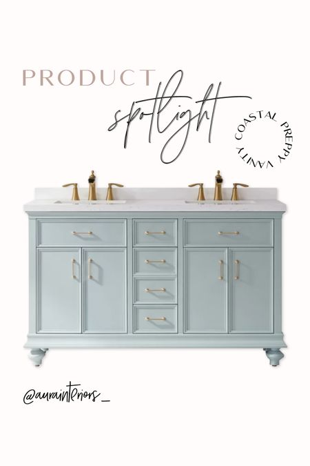 """I stumbled across this 60"""" double sink coastal vanity + couldn't help but post! This mint vanity with adorable bun feet, brass hardware + marble-look top… PERFECTION 🤩  Only $1,570 including: ✅ Vanity ✅ Solid Wood Construction ✅ Soft Close Doors/Drawers ✅ Countertop w/ 3"""" Backsplash  ✅ Rectangular Undermount Sinks ✅ Hardware ❌ Faucets — linked two great options below! ✨  Shop my daily looks by following me on LIKEtoKNOW.it!! 🐚 http://liketk.it/3j867 #liketkit @liketoknow.it @liketoknow.it.home #LTKhome   60 inch vanity, 5 foot vanity, 60 inch light blue vanity, 60 inch double sink vanity, 60"""" double sink vanity, 5 foot double sink vanity, double vanity under 1500, light blue vanity, blue green vanity, sea glass vanity, aqua vanity, preppy vanity, girly vanity, girls bath vanity, Jack and Jill vanity, blue double sink vanity, kids vanity, coastal vanity, nautical vanity, light blue double vanity, light blue double sink vanity, blue green double vanity, blue green double sink vanity, sea glass double vanity, sea glass double sink vanity, aqua double vanity, aqua double sink vanity, coastal double vanity, coastal double sink vanity, light blue vanity brass hardware, light blue vanity gold hardware, coastal vanity gold hardware, coastal vanity brass hardware, beach house vanity, beach cottage vanity, double vanity under $2000, double vanity under $2k, solid wood vanity, soft close vanity, light blue solid wood vanity, blue green solid wood vanity, double vanity under mount sinks, double vanity rectangular sinks, vanity with feet, feminine vanity, blue feminine vanity, blue girly vanity, blue traditional vanity, vanity bun feet, two sink vanity"""