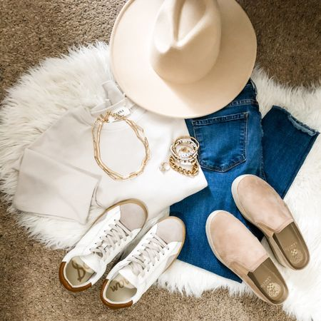 A great spring outfit! Comfy & casual, yet perfectly stylish. This beige shirt is my new favorite especially paired with gold necklaces and fun statement bracelets. The beaded bracelets are by @beaukarkvintage $12 each. The gold one is linked. Throw on a pair of jeans, a fun hat and of course one of these pairs of sneakers and you are instantly fab!    Shop my daily looks by following me on the LIKEtoKNOW.it shopping app • you can find the link in my IG bio  Noel_Naturally on the LIKEtoKNOWit app  . . .  http://liketk.it/3aBax #liketkit @liketoknow.it #LTKunder100 #LTKshoecrush